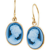 Genuine Agate Cameo Earrings