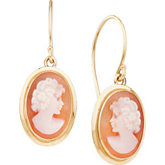 Genuine Carnelian Shell Cameo Earrings