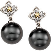 Tahitian Cultured Pearl & Diamond Flower Earrings