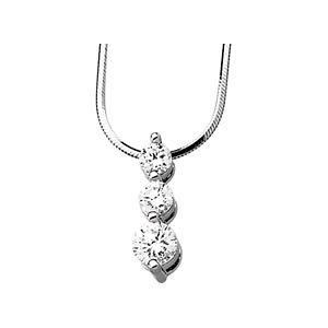 3-Stone Cubic Zirconia Necklace