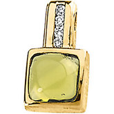 Genuine Peridot Cabochon & Diamond Pendant