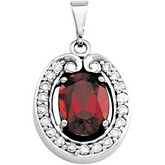 Genuine Mozambique Garnet & Diamond Pendant