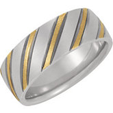 7mm Two Tone Domed Band with Black Rhodium