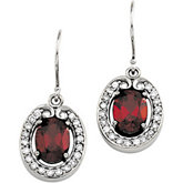 Genuine Mozambique Garnet & Diamond Earrings