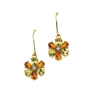 Multi-Gemstone & Diamond<br> Floral Design Earrings