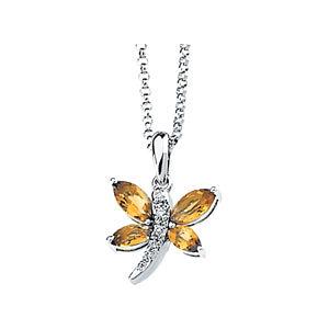 Genuine Citrine & Diamond Dragonfly Necklace