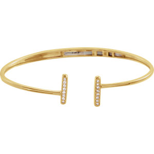 14K Yellow 1/6 CTW Diamond Bar Hinged Cuff Bracelet