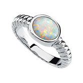 Genuine Opal Cabochon Ring