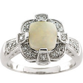 Genuine Opal Cabochon & Diamond Ring