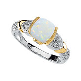 Genuine Opal, Tanzanite & Diamond Ring