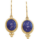 Genuine Lapis Cabochon Earrings