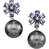 Tanzanite and Diamond Semi-mount Earrings