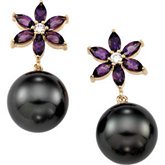 Tahitian Cultured Pearl & Genuine Amethyst Flower Earrings
