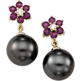 Tahitian Cultured Pearl & Rhodolite Garnet Earrings