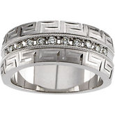 1/5 ct tw Diamond Greek Key Design Anniverary Band
