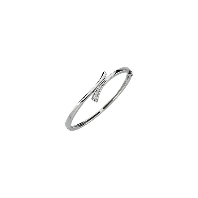 White Gold and Diamond Journey Style Bangle Bracelet