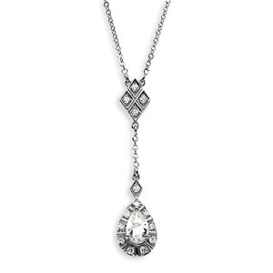 Created Moissanite & Diamond Drop Necklace