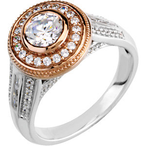Two-Tone Diamond Engagement Ring, Semi-Mount or Band