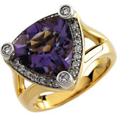 Genuine Trillion Amethyst & Diamond Ring