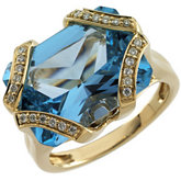Genuine Radiant-Cut Swiss Blue Topaz & Diamond Ring