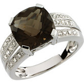Genuine Smoky Quartz & Diamond Split-Shank Ring