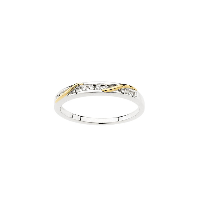 14K White & Yellow 1/8 CTW Diamond Band