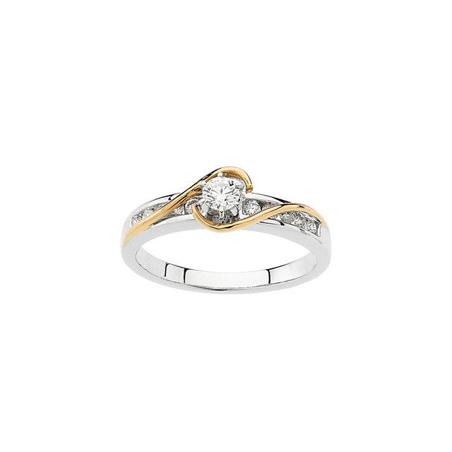 14K White & Yellow 1/3 CTW Diamond Engagement Ring