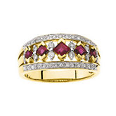 Genuine Ruby & Diamond Anniversary Band