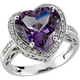 Heart-Shaped Genuine Amethyst & Diamond Ring