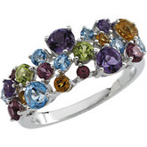 Genuine Multicolor Gemstone Ring