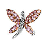 Genuine Pink Sapphire & Diamond Dragonfly Brooch