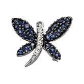 Genuine Blue Sapphire & Diamond Brooch