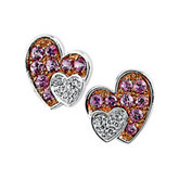 Genuine Pink Sapphire & Diamond Heart Earrings