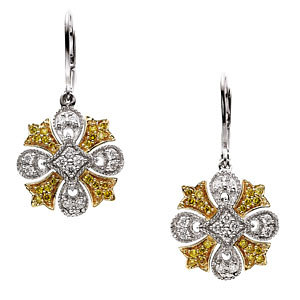 Natural Yellow & White<br> Diamonds Lever Back<br> Earrings