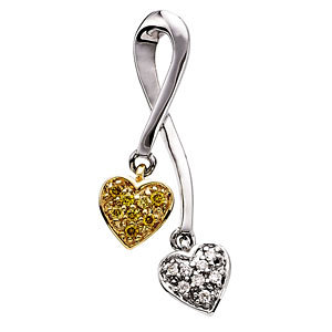 Natural Yellow & White Diamonds Double Heart Pendant