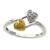 .08 ct tw Natural Yellow & White Diamonds Heart Ring