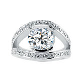 Created Moissanite & Diamond Split-Shank Ring