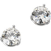 Created Moissanite 3-Prong Round Earrings