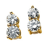 Created Moissanite 2-Stone Round Earrings