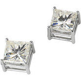 Created Moissanite Square Light Wire Basket Earrings