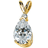 Created Moissanite Pear Pendant