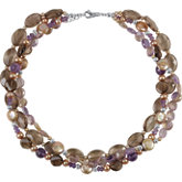 Freshwater Dyed Cultured Pearl & Multi-Gemstone Necklace
