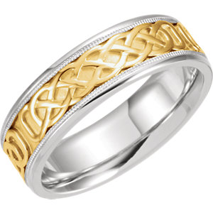 Two-Tone 7mm Celtic-Inspired Band