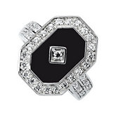 Genuine Onyx & Cubic Zirconia Ring