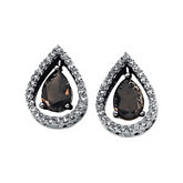 Genuine Smoky Quartz & Diamond Earrings