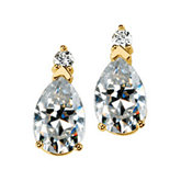 Created Moissanite Pear Earrings
