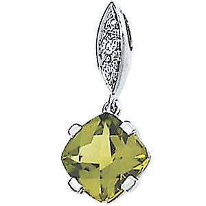 Genuine Peridot & Diamond Pendant