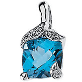 Genuine Swiss Blue Topaz & Diamond Pendant