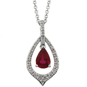 14kt White Ruby & 1/6 CTW Diamond Necklace