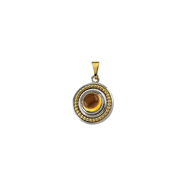 Sterling Silver and Yellow Gold Citrine Cabochon Pendant